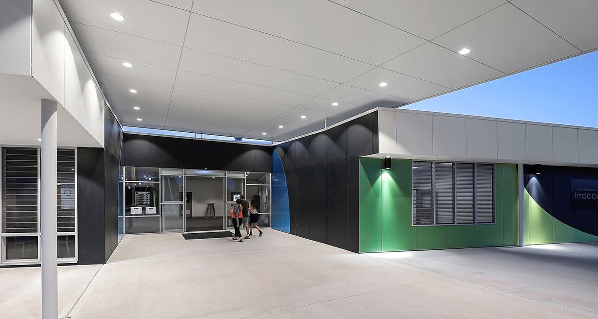Industralight-LED-Lighting-Port_Macquarie_Indoor_Stadium_High_Entrance